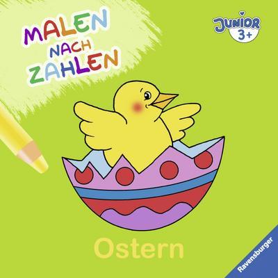 Malen nach Zahlen junior: Ostern  Ill. v. Penner, Angelika  Deutsch  durchg. farb. Ill.  Warnhinweis nach Spielzeug-VO nicht erforderlich.