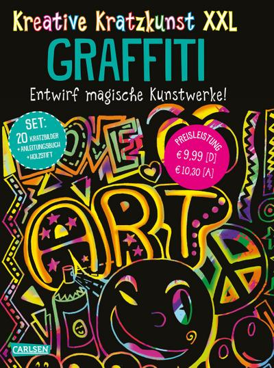 Kreative Kratzkunst XXL: Graffiti: Set mit 20 Kratztafeln, Mappe, Anleitungsbuch und Holzstift