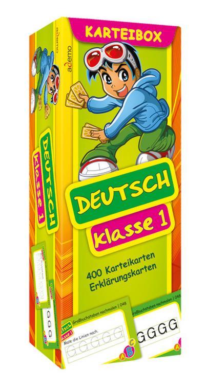 Karteibox Deutsch Klasse 1: mit farbigen Karteikarten - Ademo - Karten, Deutsch, ademo Verlag GmbH, 400 Karteikarten, Erklärungskarten, 400 Karteikarten, Erklärungskarten
