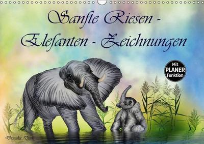 Sanfte Riesen - Elefanten-Zeichnungen (Wandkalender 2019 DIN A3 quer)