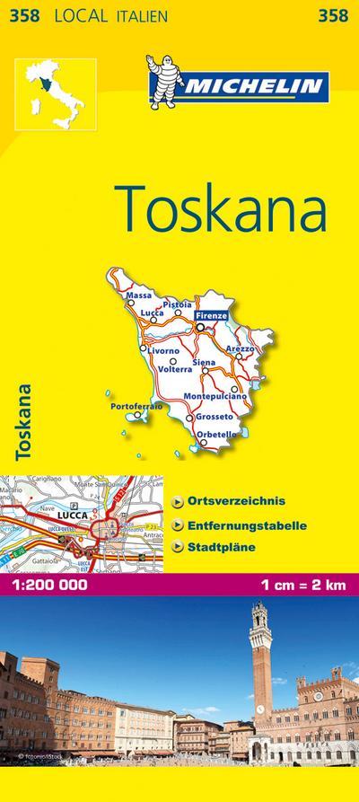 Michelin Toskana: Straßen- und Tourismuskarte 1:200.000 (MICHELIN Localkarten, Band 358)