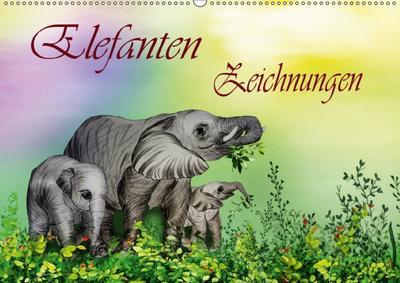 Elefanten Zeichnungen (Wandkalender 2018 DIN A2 quer) Dieser erfolgreiche Kalender wurde dieses Jahr mit gleichen Bildern und aktualisiertem Kalendarium wiederveröffentlicht.