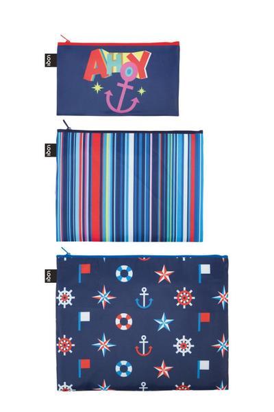 LOQI NAUTICAL Zip Pockets - Zip-Etuis - LOQI Gmbh - Textilien, Deutsch, , Mini Pocket 13  x  23 cm, Midi Pocket 20  x  27 cm, Maxi Pocket 25  x  32 cm, Mini Pocket 13  x  23 cm, Midi Pocket 20  x  27 cm, Maxi Pocket 25  x  32 cm