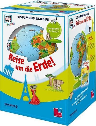 columbus-globus-reise-um-die-erde-leuchtglobus-weltatlas-und-begleitheft-was-ist-was-junior-edit
