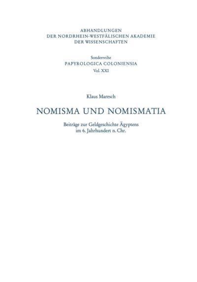 nomisma-und-nomismatia-abhandlungen-der-nordrhein-westfealischen-akademie-der-wisse-german-editio