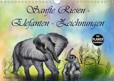 Sanfte Riesen - Elefanten-Zeichnungen (Wandkalender 2019 DIN A4 quer)