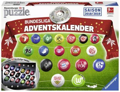 Adventskalender Bundesliga 2018/2019  Erlebe Puzzeln in der 3. Dimension  Deutsch  Achtung. Nicht für Kinder unter 36 Monaten geeignet. Erstickungsgefahr wegen verschluckbarer Kleinteile.