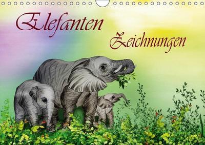 Elefanten Zeichnungen (Wandkalender 2019 DIN A4 quer)
