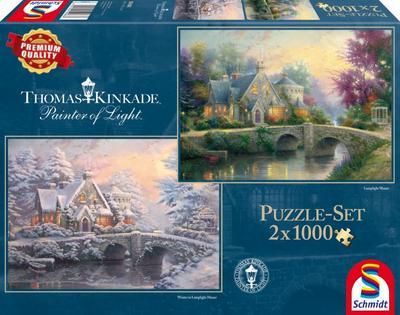 Schmidt Spiele 59468 - Thomas Kinkade, Winter in Lamplight Manour, 2 x 1.000 Teile, Klassische Puzzle - Schmidt Spiele Gmbh - Spielzeug, Deutsch, , ,