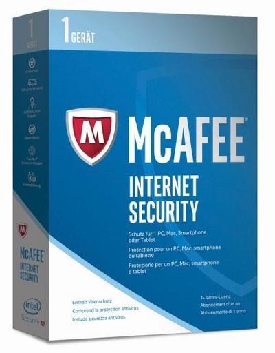 McAfee Internet Security   2017 Version   1 Gerät   1 Jahr   PC/Mac/Smartphone/Tablet   Download - Mcafee - CD-ROM, Deutsch, , ,