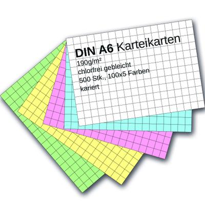 Karteikarten 500 Stück A6 farbig kariert - Ademo-Verlag Gmbh - Zubehör, Deutsch, ademo-Verlag GmbH, ,