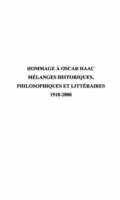 Hommage a Oscar Haac