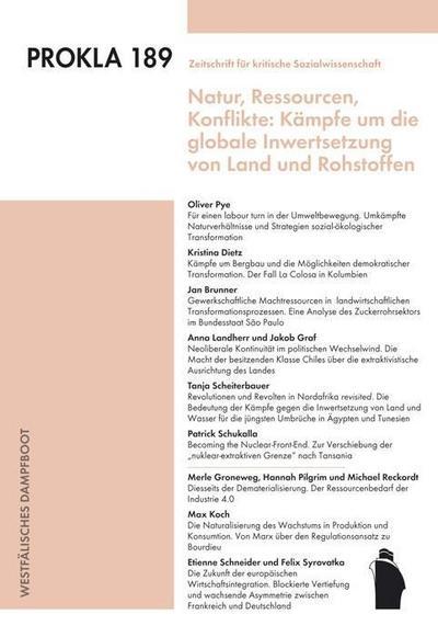 Kämpfe um die globale Inwertsetzung von Land und Rohstoffen  PROKLA  Hrsg. v. PROKLA  Deutsch