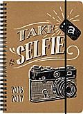 Brunnen Schülerkalender Selfie/Kamera - Format: A5 - 2016/2017 - Ringbindung/Spiralbindung - mit Gummizug - Papp-Einband