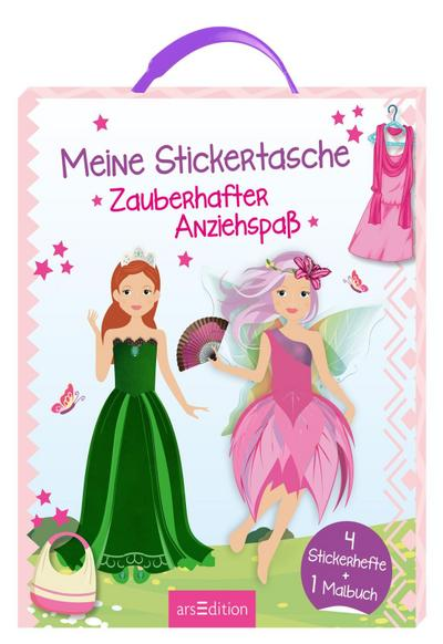 meine-stickertasche-zauberhafter-anziehspa-4-stickerhefte-und-1-malbuch-sticker-anziehpuppen-
