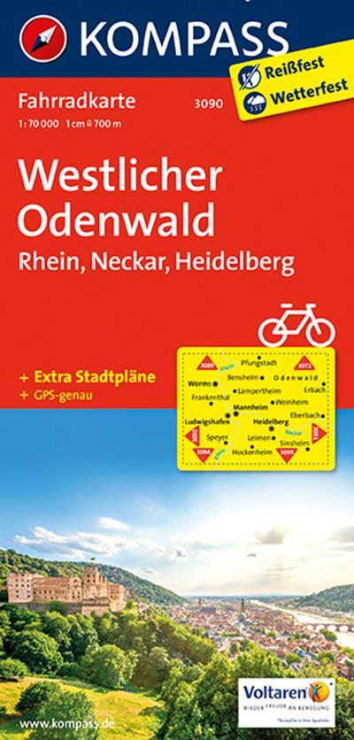 westlicher-odenwald-rhein-neckar-heidelberg-1-70-000-kompass-fahrradkarten-deutschland-ba, 8.92 EUR @ rheinberg