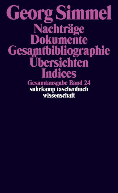 Gesamtausgabe in 24 Bänden: Band 24: Nachträge. Dokumente. Bibliographien. Auflistungen. Indices (suhrkamp taschenbuch wissenschaft)