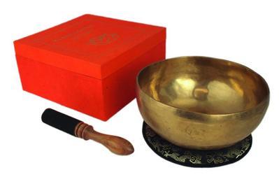 Klangschale in terracotta Geschenkbox L mit Lotus-Aufdruck und Zubehör