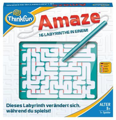 Ravensburger 76320 ThinkFun Amaze Spiel - Smart Game - Ravensburger Spielverlag - Spielzeug, Englisch| Französisch| Deutsch| Italienisch, Amaze(TM) ThinkFun, Mit Köpfchen durchs Labyrinth!, Mit Köpfchen durchs Labyrinth!