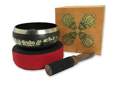 Geschenkset mit grösserer Klangschale in brauner Box mit Aufdruck