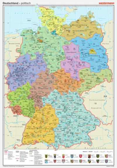 Posterkarten Geographie: Deutschland: politisch - Westermann Lernspielverlage - Landkarte, Deutsch, , ,