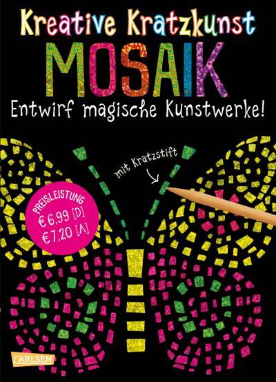 Kreative Kratzkunst: Mosaik: Set mit 10 Kratzbildern, Anleitungsbuch und Holzstift