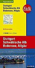 Falk Regionalkarte 15. Stuttgart, Schwäbische Alb, Bodensee, Allgäu. 1 : 150 000