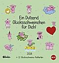 Blinies: Dutzend Glücksschweine Postkartenkalender 2018