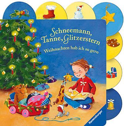 Schneemann, Tanne, Glitzerstern - Weihnachten hab ich so gern