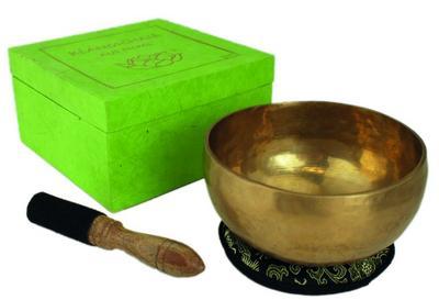 Klangschale in grüner Geschenkbox M mit Lotus-Box und Zubehör
