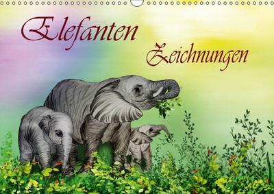 Elefanten Zeichnungen (Wandkalender 2018 DIN A3 quer) Dieser erfolgreiche Kalender wurde dieses Jahr mit gleichen Bildern und aktualisiertem Kalendarium wiederveröffentlicht.