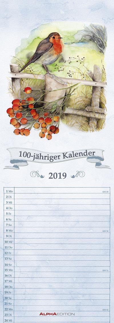 100-jähriger Kalender 2019 - Streifenkalender (15 x 42) - Streifenplaner - Wandplaner - ALPHA EDITION - Kalender, Deutsch, ALPHA EDITION, Streifenkalender, Streifenkalender