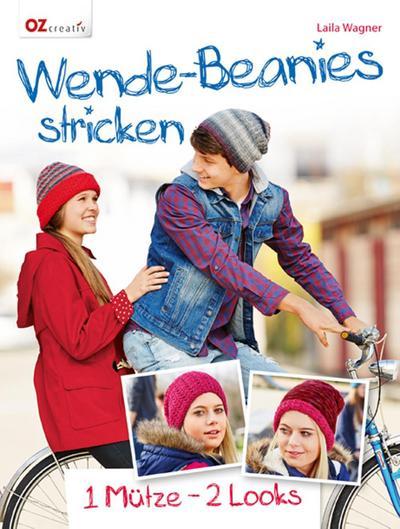 Wende-Beanies stricken  1 Mütze - 2 Looks  Deutsch  durchgeh. vierfarbig