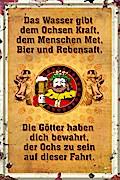 """Blechschild """"Ochs und Mensch"""""""