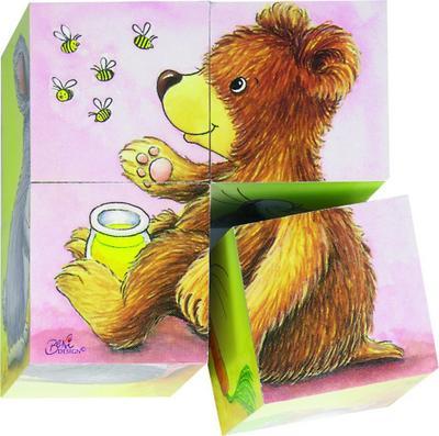 Goki 57056 - Würfelpuzzle - Tierkinder - Goki - Spielzeug, Deutsch, , 9 x 9 x 4,5 cm, 6 verschiedene Designs, 4 Würfel, per Stück, 9 x 9 x 4,5 cm, 6 verschiedene Designs, 4 Würfel, per Stück