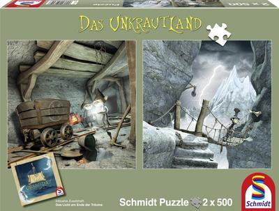 schmidt-spiele-59602-das-unkrautland-quadratpuzzles-in-den-koboldminen-und-die-schlucht-2-x-500