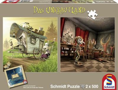 schmidt-spiele-59601-das-unkrautland-quadratpuzzles-die-koboldfrau-und-der-narr-2-x-500-teile