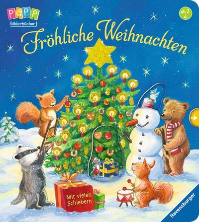 Fröhliche Weihnachten  Mit vielen Schiebern  Ill. v. Weller, Ana  Deutsch  durchg. farb. Ill. u. Text, mit Schiebern u. Goldfolie auf dem Cover