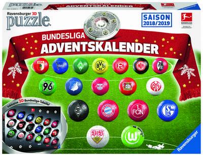 Ravensburger 11679 Adventskalender Bundesliga, bunt - Ravensburger Spielverlag - Spielzeug, Deutsch, , Erlebe Puzzeln in der 3. Dimension, Erlebe Puzzeln in der 3. Dimension
