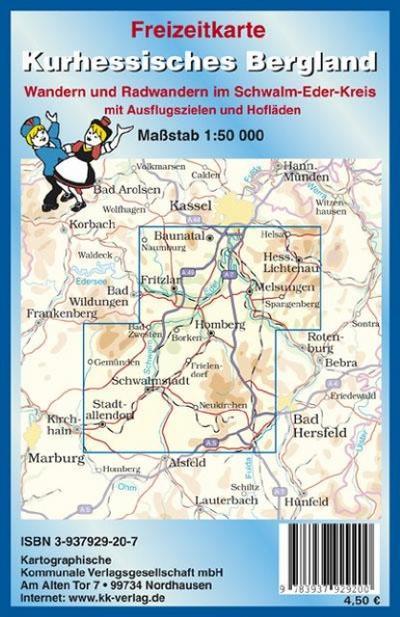 Freizeitkarte Kurhessisches Bergland 1 : 50 000: Wandern und Radwandern im Schwalm-Eder-Kreis mit Ausflugszielen und Hofläden