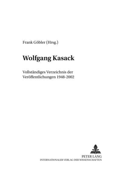 Wolfgang Kasack