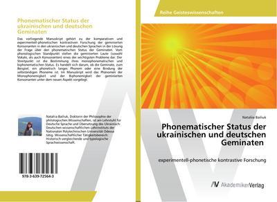 Phonematischer Status der ukrainischen und deutschen Geminaten