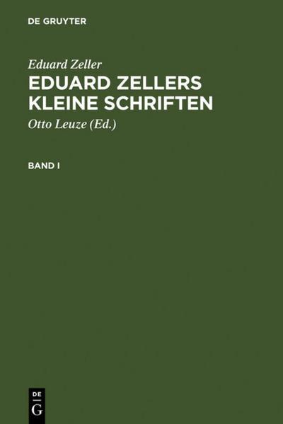 Eduard Zellers Kleine Schriften