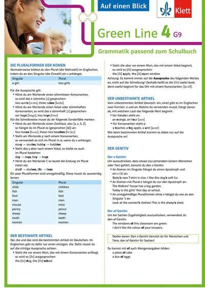 Green Line 4. Auf einen Blick. G9 Klasse 8. Grammatik passend zum Schulbuch - Klappkarte (6 Seiten)