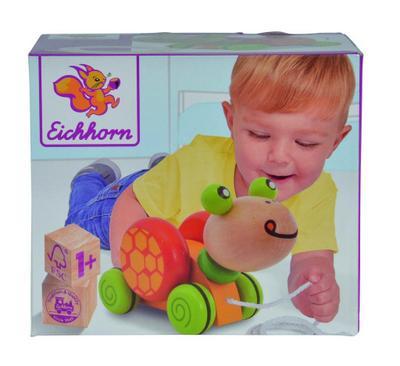 Eichhorn 100005553 - Nachziehtier Schildkröte, mit Bewegung, 15cm, Birkenholz - Simba Toys - Spielzeug, Deutsch, , ,