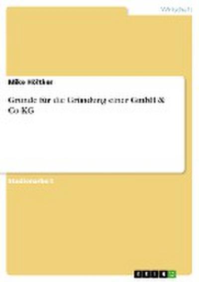 Gründe für die Gründung einer GmbH & Co KG