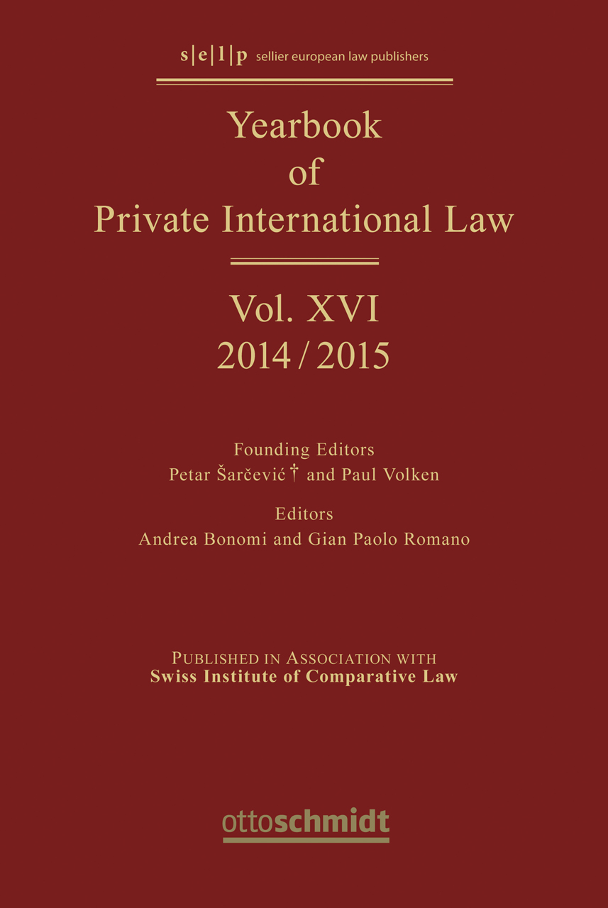Yearbook of Private International Law. Vol.16 Andrea Bonomi