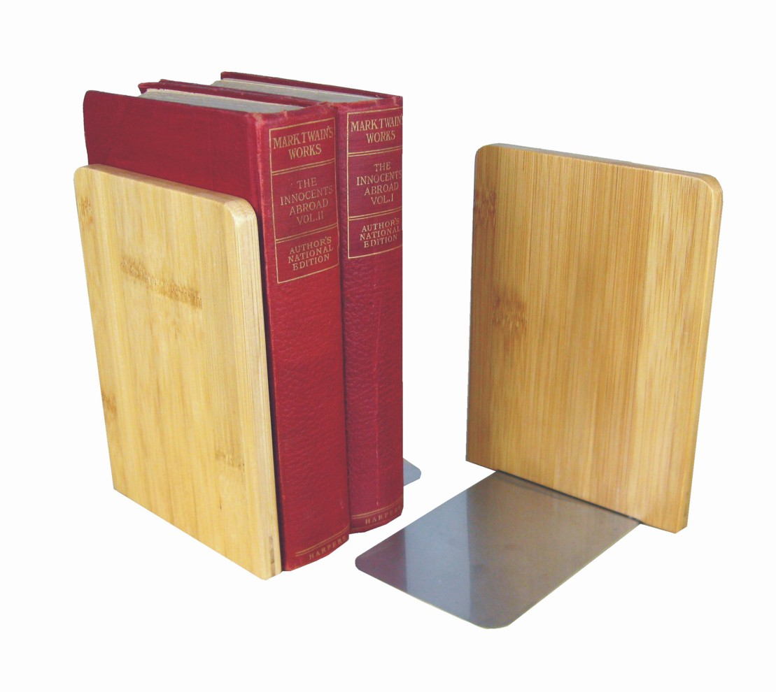 Winkelbuchstütze aus Edelstahl und Bambus