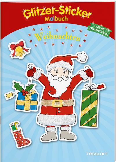 Glitzer-Sticker Malbuch Weihnachten; 45 glitzernde Sticker!; Malbücher und -blöcke; Ill. v. Schmidt, Sandra; Deutsch; schw.-w. Ill., 45 Glitzersticker; Achtung! Kleine Teile. Erstickungsgefahr.