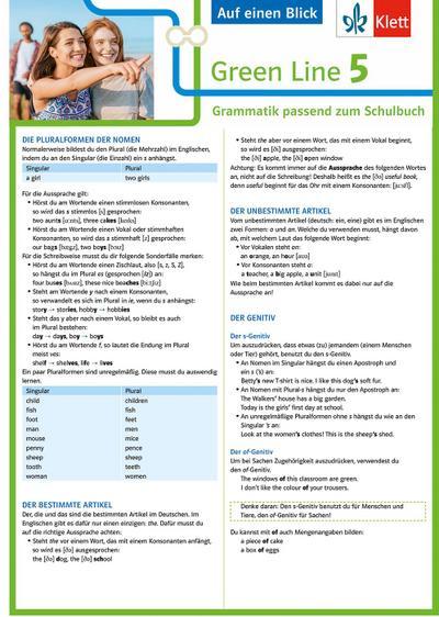 Green Line 5 G8 Klasse 9 Auf einen Blick. Grammatik